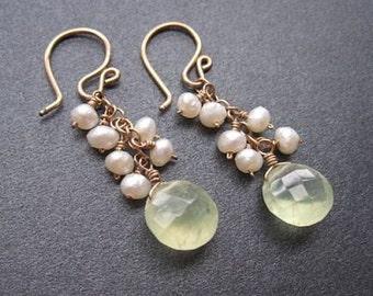 Choice of Pearls or Peridot with Prehnite earrings Princess 70