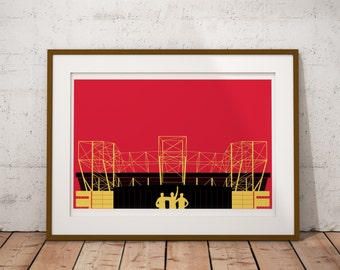 Architecture of Manchester Stadium - Special Edition Print of Manchester - Illustrated poster - Gifts for United Fans - Football Poster