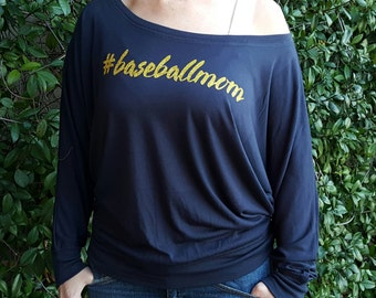 Baseball Mom Women's Shirt Flowy Long Sleeved Off the Shoulder #baseballmom Women's Trendy Flowy Shirt Navy Blue and Gold Yellow Glitter