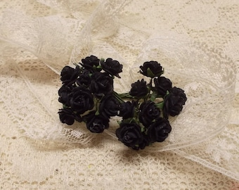 Mini Black Mulberry Paper Roses, Wedding, Scrapbook Embellishment, Mixed media, Black, Mini Album