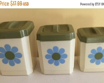 NEW LOW PRICE Vintage 1970's Kitchen Canisters set of 3 made by Sears