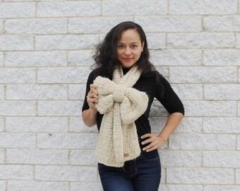 Crochet winter scarf, Big bow scarf, Fashion scarf, Cream scarf, Unique winter accessories, Fall scarf
