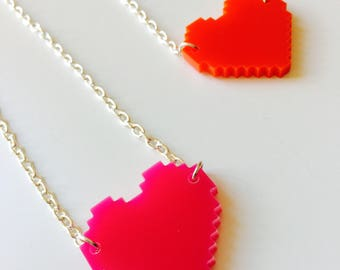 Heart | Pixel | Gamer | Emo | Love | Red | Pink | Geek | Laser Cut | Acrylic | Necklace