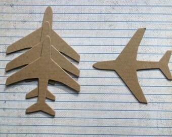 4 Bare chipboard die cuts medium AIRPLANE plane