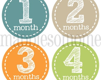 Monthly Baby Stickers INSTANT DOWNLOAD - DIY Printable pdf- Baby Boy Month Stickers Milestone Growth (Benson)