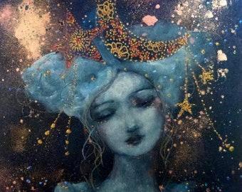 Woman- moon portrait in a night sky mix media on wood