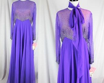 Vintage Dress Chiffon Beaded Victoria Royal Ltd. Purple Dress NOS L/XL