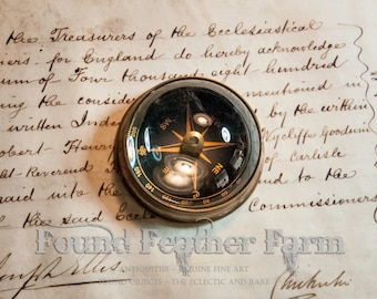 Small Vintage Glass and Antiqued Brass Domed Magifying Compass