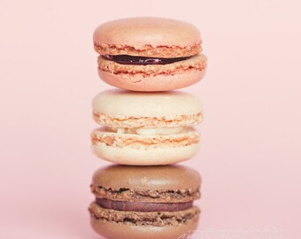 Fine Art Photo, Macaron Cookies, Strawberry, Vanilla, Chocolate, Food Art, Bakery Art, Pastel, Pink, Dessert, Cafe Art, Sweets, Square Print