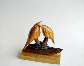 Wooden Sculpture, Wooden Birds, Love Birds, Wood Art, Woodcarving, Carved Sculpture, Handmade by Yurii Myketka