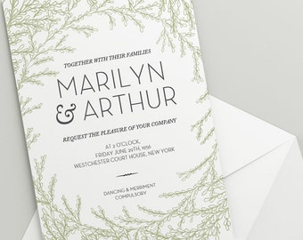 Printable Wedding Invitation Download 'Garland' // DIY TEMPLATE // Word Mac or PC // 5 x 7 // Change artwork colour // Luxury Design