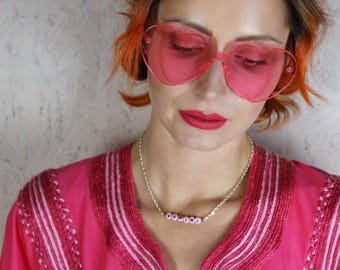 70's 90's Retro oversized pink clear heart shaped frameless sunglasses