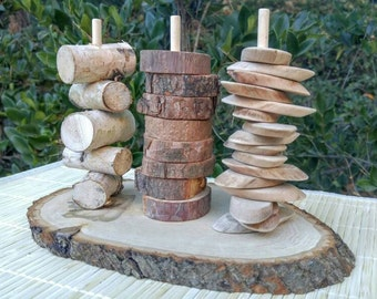 Natural Wood Sorting, Fine Motor Skills, Gift for Kids, Montessori Classroom, Reggio Emilia, Waldorf, Teacher Resources