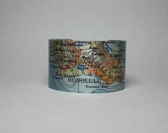 Honolulu Hawaii Oahu Map Cuff Bracelet Unique Travel Gift for Men or Women
