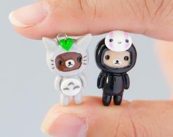 Polymer Clay Rilakkuma and Korilakkuma Inspired in Totoro and Kaonashi Costume Charm Kawaii Miniature - 2 pcs