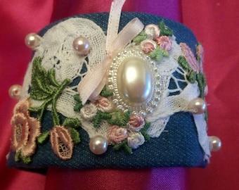 Embellished Denim Fabric Bracelet