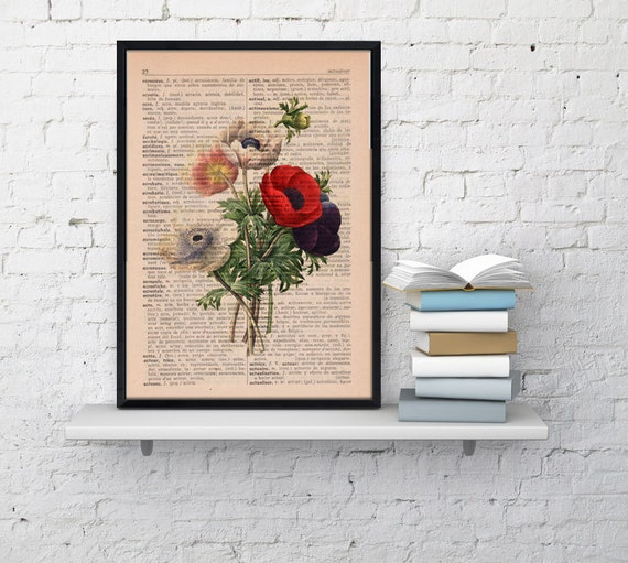 Wall art floral print Anemones bouquet collage Print Home decor, wall hanging floral bouquet,upcycled gift BFL046