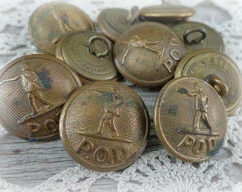 10 antique post office brass buttons vintage POD uniform buttons craft supplies