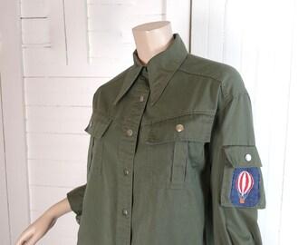 70s Military Shirt w/ Hot Air Balloon Patch- 1970s Vintage Cargo Disco Uniform- Olive Green- Boho Hippie Festival Rock n Roll Punk