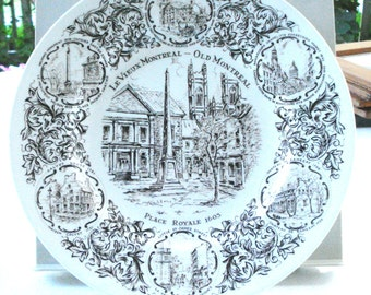 Old Montreal souvenir plate Wood & Sons ironstone England perfect vintage