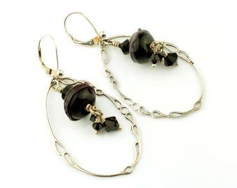 Black Lampwork  Earrings,  Sterling Silver Leverback,  Black  Dangle Beaded Jewelry