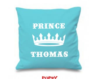 Prince Pillow Personalized, Baby Boy Gift, Custom Baby Gift, Christening Gift, Nursery Decor, Girl Birthday, Choose Your Color/Colour.