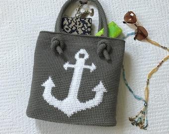 Anchor bag /Crochet bag /Tote bag /Handmade tote bag /Cotton bag /Spring and summer bag /Beach bag