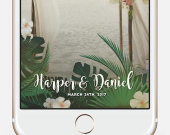 Tropical Snap chat filter * Hawaiian Snapchat Filter, Palm leaf Snap Filter, Beach Party Geofilter, Luau Snapchat, Tropical Wedding filter,