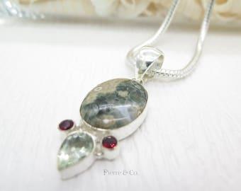 Ocean Jasper Green Amethyst and Garnet Sterling Silver Pendant and Chain