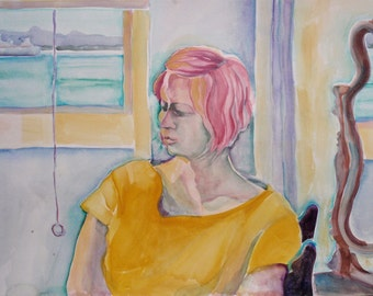 "Handmade, Fine Art, Watercolor Painting, Original Work on Paper, ""Pink Hair"""
