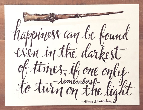 Original Hand Lettered Calligraphy Art - Harry Potter Wand/Dumbledore Quote