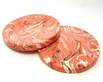Set of 2 Coasters, drink coasters, marble coasters, Red round Coaster.