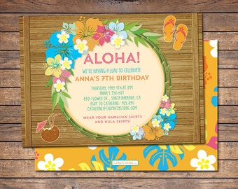 Luau Invitations Printable Luau Invitation Luau Birthday Invitation Luau Party Invitation Hawaiian Invitation Aloha Invitation, Luau Invites