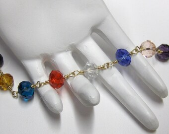 Wire Wrapped Multicolor Faceted Crystal Bracelet   ///   Handcrafted 14K Goldfilled Jewelry