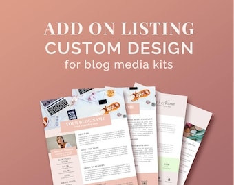 ADD-ON LISTING / Customize exasting listing/ Single Template Personalization / Image Placement and Text Added for Blog Media Kits