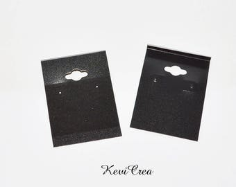10 x black plastic supports velvety earrings