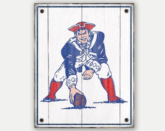 Pat Patriot sign - Print applied to wood - Pats fan gift - Man cave Boys room Sports Bar decor Fathers Day gift for Dad