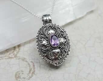Stash Necklace. Amethyst secret box necklace. filigree pill box pendant. February birthstone. genuine amethyst. prayer box pendant