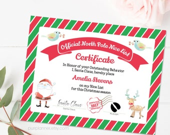 Santa nice list etsy printable santa nice list nice certificate template editable note from santa north pole spiritdancerdesigns