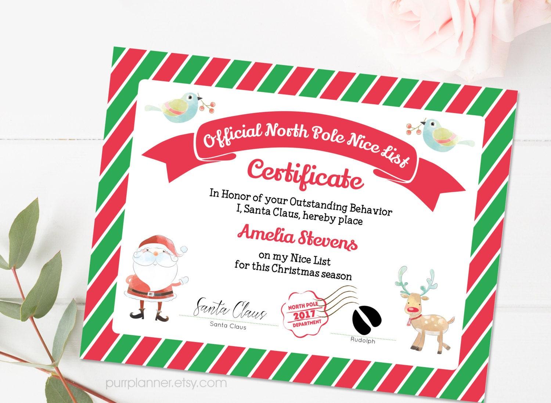Printable santa nice list nice certificate template editable zoom yadclub Images