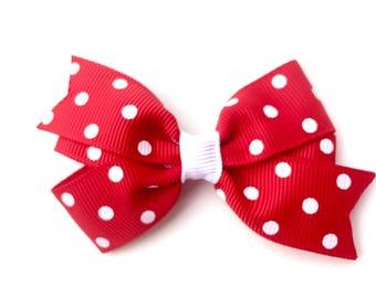 Red polka dot hair bow - hair bows, toddler bow, girls hair bows, girls bows, baby bows, bows, hair bows for girls, red bows, hair clips