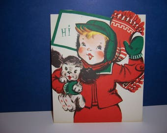 Vintage Unused Christmas Card, Pop Up Card, Boy and Dog Sledding, Fold Out, 3D, 1950's Children's Greeting Card