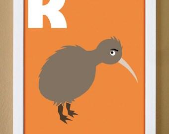 alphabet letter K, kiwi, custom colors, children's letter art, alphabet art, nursery decor, New Zealand art, 4X6, 5X7, 8X10