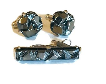 Vintage Sarah Coventry Hematite Charcoal Tuxedo Cuff Link and Tie Bar Set
