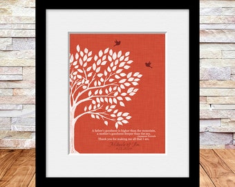 Lovebird Tree, Wedding Tree Print, Japanese Proverb, Thank You Gift for Parents, Bride's Parents Gift, Groom's Parents Gift,  Parents Gift