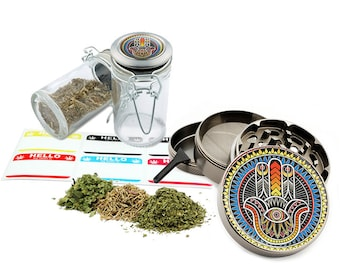 "Hamsa - 2.5"" Zinc Alloy Grinder & 75ml Locking Top Glass Jar Combo Gift Set Item # G123114-0002"