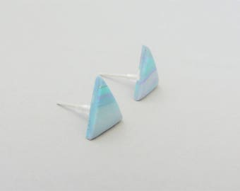 Blue and Purple Triangle Earrings, Marbled Earrings, Modern Earrings, Statement Earrings, Polymer Clay Earrings, Geometric Earrings