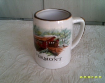 Vintage Stoneware Vermont Beer/ Coffee Mug, Vermont Souvenir, Covered Bridge Mug