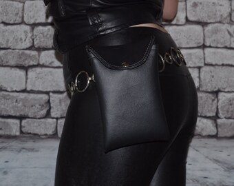 Large Leather Hip Pouch! Recycled Leather.