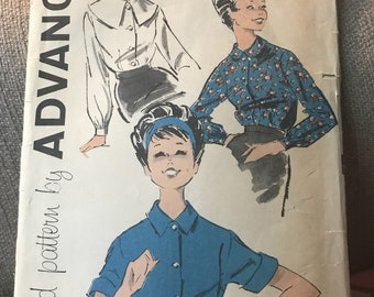 Vintage 50s Advance 9158 Blouse Pattern-Size 12 (32-25-34)